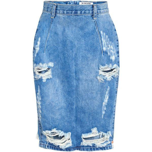 One Teaspoon Austyn Freelove Skirt ($100) ❤ liked on Polyvore featuring skirts, bottoms, light blue, blue skirt, knee length denim skirt, distressed denim skirt, midi skirt and blue pencil skirt