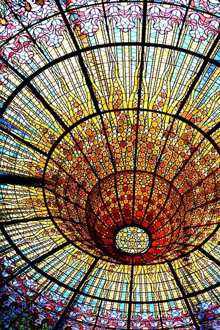 Details, Ceiling at Palace of Catalan Music, Barcelona. Designed by Lluís Domènech i Montaner, photo by Lucas.