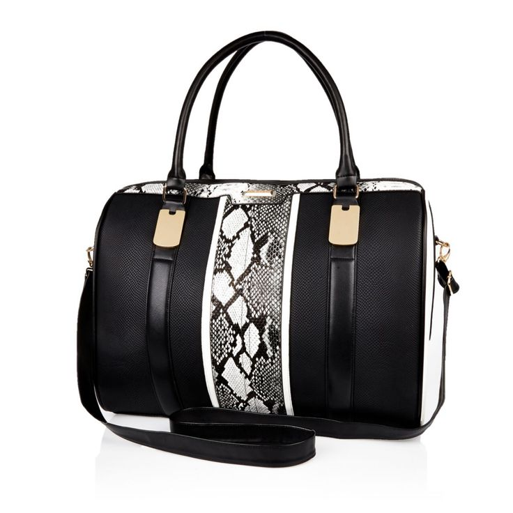 Checkout this Black snake print weekend bag from River Island