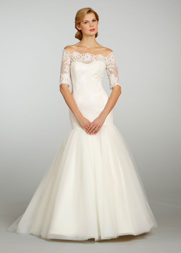 beautiful wedding dress with off the shoulder three