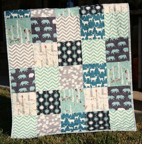 Organic Baby Boy Quilt, Dark Blue Teal Grey Gray, Birch Fabrics, Elk Deer Woodlands Forest, Modern Blanket, Chevron Bears Bunting on Etsy, $149.00