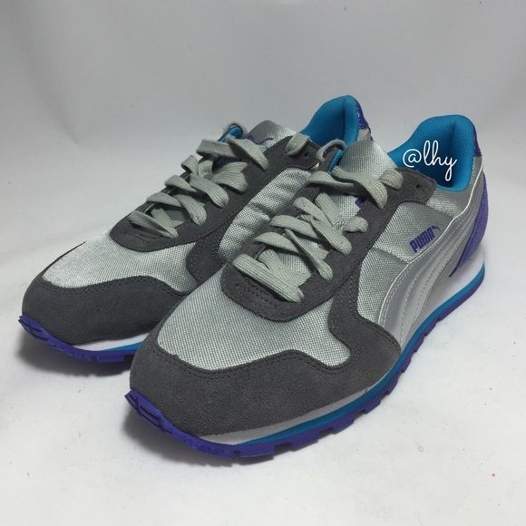 PUMA RUNNER SNEAKERS Authentic PUMA Runner Sneakers. Limestone Gray/Purple/Turquoise. New without box. Suede, textile and synthetic upper. Rubber Sole. Padded tongue and collar. Metallic accents on heel. Lace up style. PUMA logo on side and tongue. Please be familiar with sizing of PUMA footwear; size 9. ❌❌NO TRADES NO PP PLeASE DO NOT ASK❌❌ Puma Shoes Sneakers