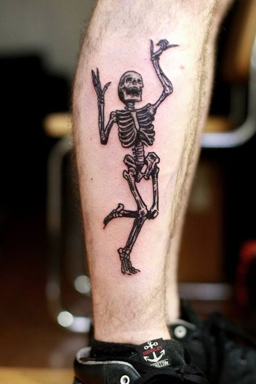 Laughing and Dancing Skeleton Tattoo for Men