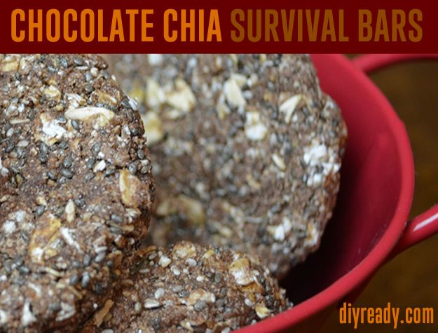 Survival Bar Recipe  Instructions: Chocolate Chia Survival Food Bars with Long Shelf Life. Nutritious and taste great. DIY Ready