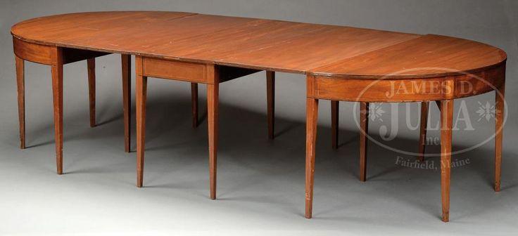THREE PART HEPPLEWHITE MAHOGANY BANQUET DINING TABLE. - Price Estimate: $1200 - $1800