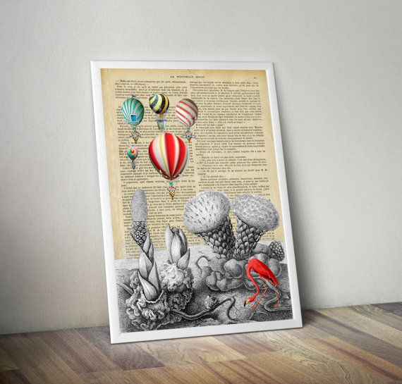 Retro Art Print. Collage dictionary. The visitors. Unique artwork. Vintage paper print. Old Illustration poster. Home wall Decor. Wall.
