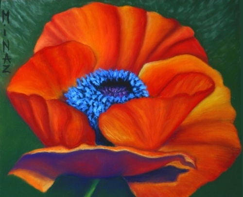 'Poppy Pleasure' soft pastel by Minaz Jantz
