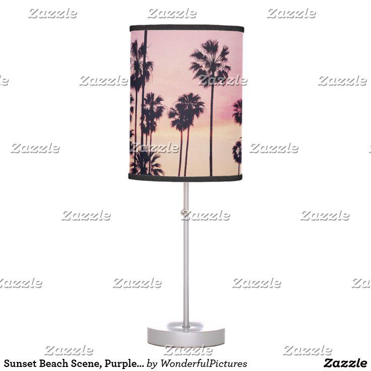 Sunset Beach Scene, Purple Tropical Sky Desk Lamp