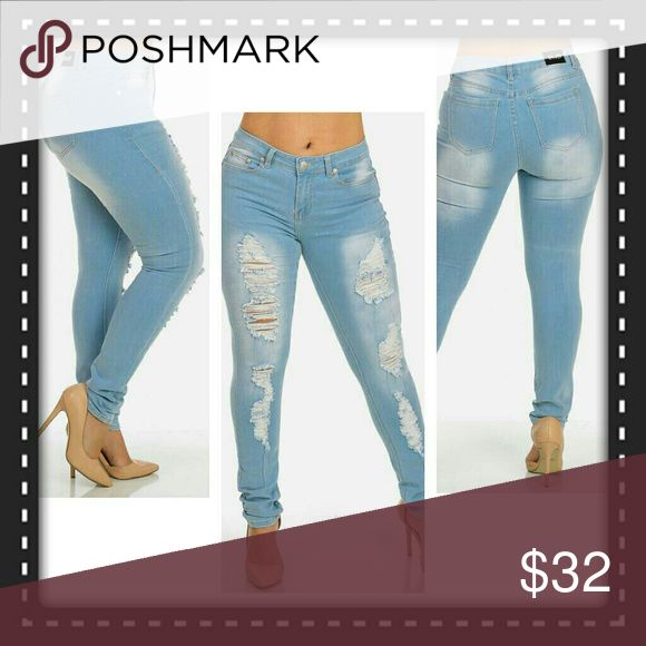 "💕SALE💕 Light Blue Ripped Jeans, Size 22 Mid rise light blue skinny jeans featuring a distressed ripped look in front, 5 pockets, 80% cotton, 15% polyester and 5% spandex.  inseam is 31"". Jeans Skinny"