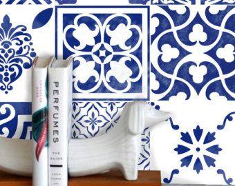 Tile adesivo per Kitche /bagno Back splash piano estraibile bianco blu 'Antica' Wmix2 blu