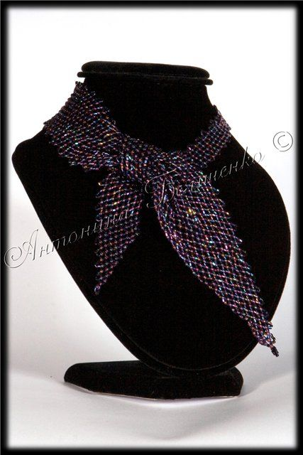 Beaded neck scarf - schema - lots & lots of netting...but a cool look....and easy.   #Seed #Bead #Tutorials