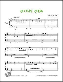 Rockin' Robin - Easy Piano Sheet Music (Digital Print) - Visit MakingMusicFun.net for free sheet music, music theory worksheets, and composer resources.
