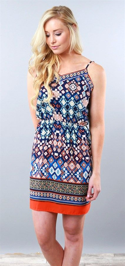 This aztec Summer dress with adjustable straps is perfect for pairing with a cardigan or wearing solo for those warmer days.