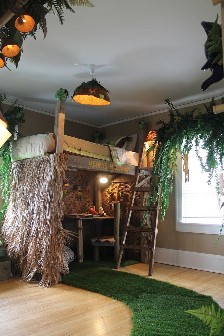 Boys Jungle Bedroom: Hammers and High Heels: Head Over Heels Friday:  Bachman's 2012 Spring Idea House. My kid is sooo gonna have this.