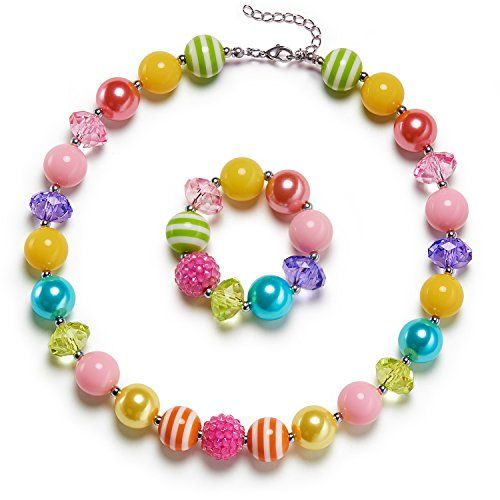 This bubblegum bead necklace is designed for your little princess photoshot. Many customer want a daily set so we reduced 50% weight with updated light beads. Your little princess can wear them for photos play around beach and parties. Both the necklace and bracelet are made of harmless 16mm acrylic beads free from lead and nickel. We send white box with beautiful bow which can be used as gift box. Its a perfect gift idea for your little girls. The jewelry set is fit for toddlers kids teen…