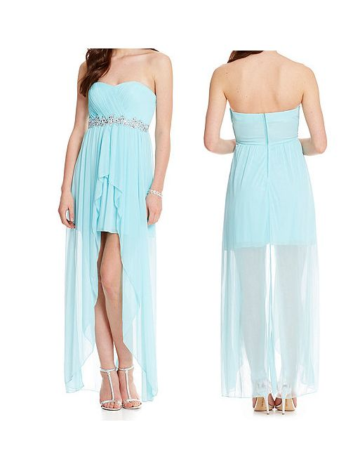 A nice high-low, light blue dress. More of a homecoming dress.
