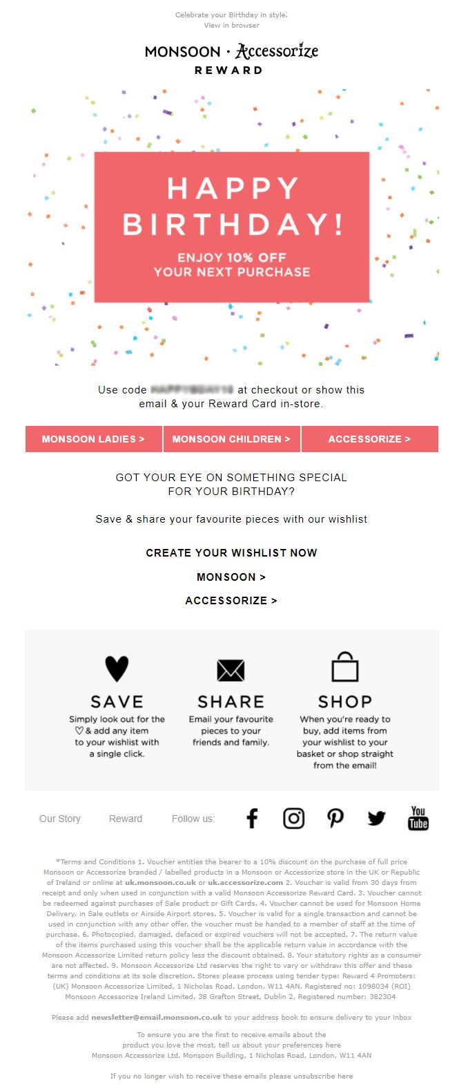 39 best birthday emails images on pinterest birthday email birthday email from monsoon accessorize with discount coupon emailmarketing email marketing fashion