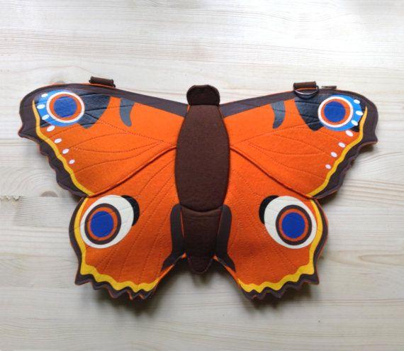 Butterfly Felt Bag Butterfly Backpack by krukrustudio on Etsy