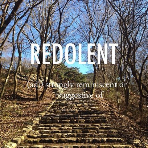Redolent |ˈrɛdəl(ə)nt| late Middle English origin (in the sense 'fragrant'): from Old French, or from Latin redolent- 'giving out a strong smell', from re(d)- 'back, again' + olere 'to smell'