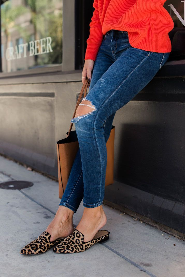 super quality best authentic online here A Fall Momiform Look with a Bold Red Sweater | Loafers outfit ...