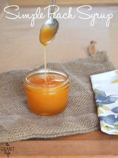 Simple peach syrup.  Make this and have it over pancakes.  Or in tea.  Or anything!