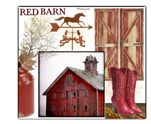 Red Barn! by whirlypath on Polyvore featuring art, vintage and country