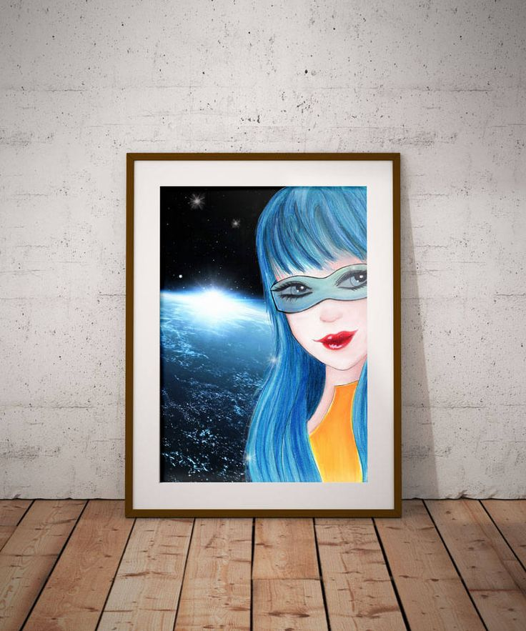 Sci-fi digital art, Space girl decor, Wall Art, Fantasy art, science fiction, space gifts, Blue decor, Girls room decor, Digital art, by DreamBigArtDesign on Etsy