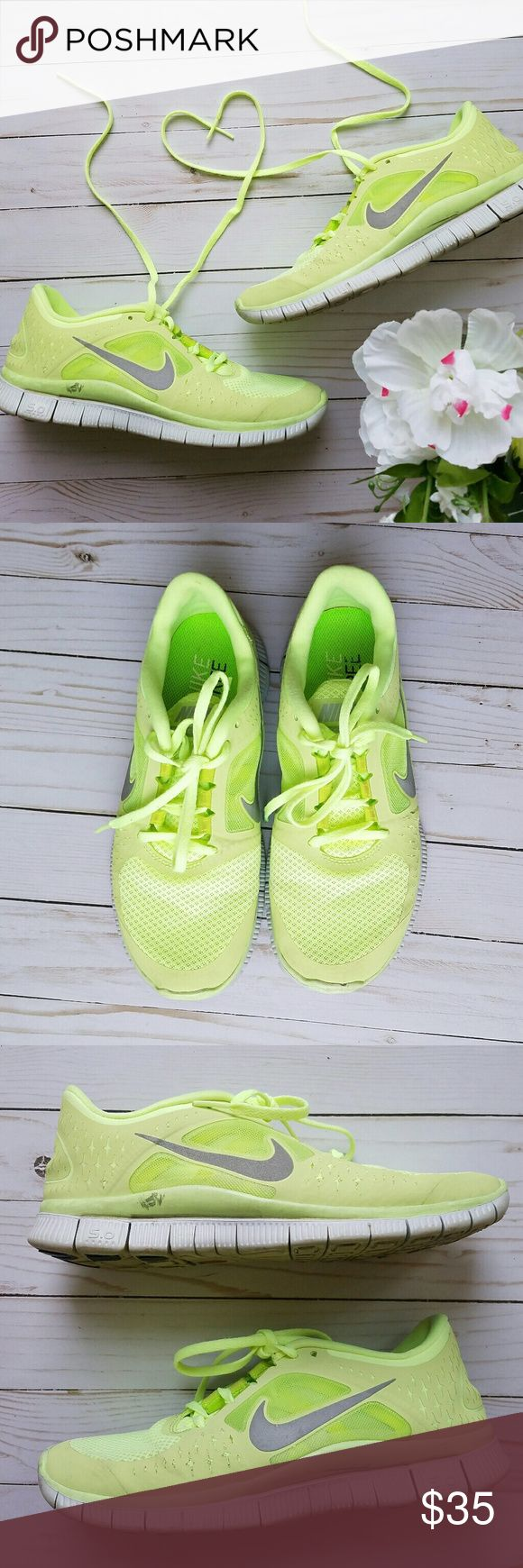 Nike Free Run 3 Nike Brand. Free Run 3. Women's size 9. Florescent yellow green with gray Nike swoosh. Worn for outdoor running several times. Scuffs, discoloration, and general wear are present but all is shown in the photos. They have been cleaned and are odor free. Nike Shoes Athletic Shoes
