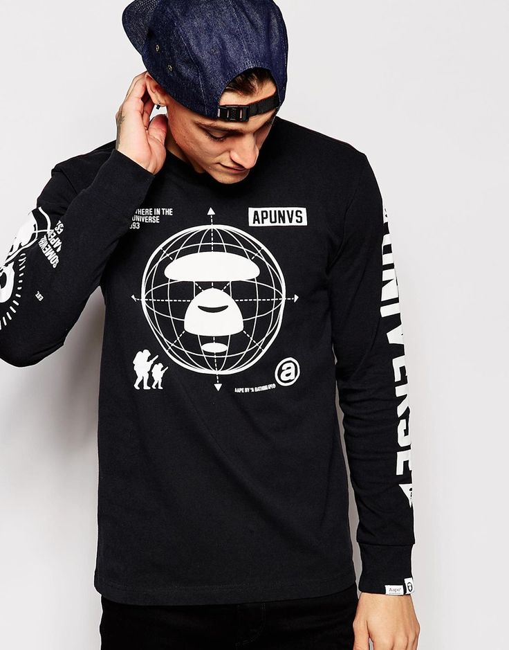 Image 1 of AAPE by Bathing Ape Long Sleeved T-Shirt With Glow Effect Print