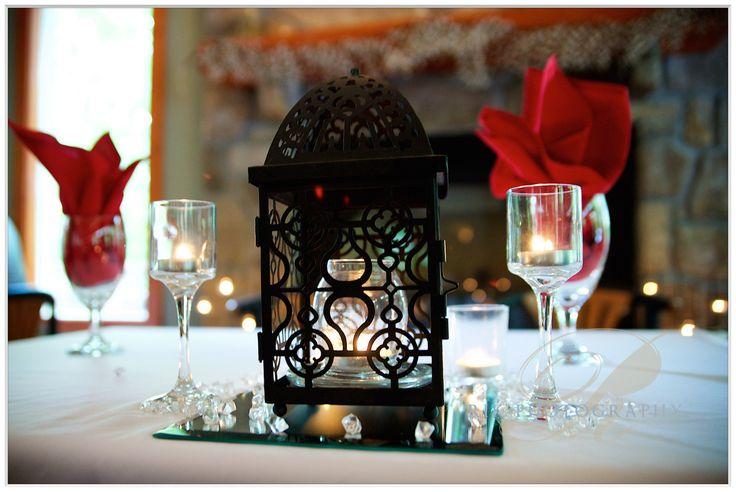 Black lantern with candles on mirrors @ Bluff Mountain Inn