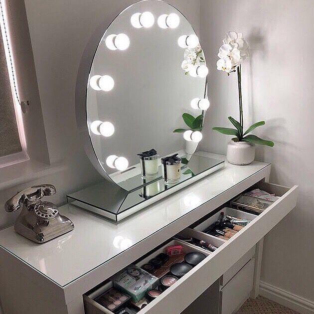 Halle Round Freestanding Hollywood Mirror Makeup Mirror With Lights Diy Vanity Mirror Hollywood Mirror