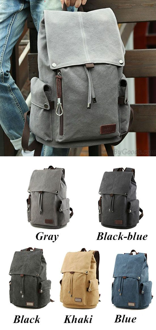 Which color do you like? Retro Large Men's Canvas Drawstring Laptop School Rucksack Travel Hiking Backpack #backpack #bag #travel #bag #large #men #rucksack