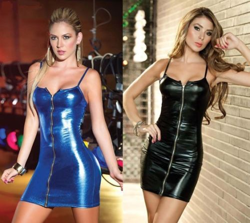 Women-Sexy-Lame-Metallic-PU-Leather-Bodycon-Mini-Front-Zipper-Dress-Plus-Size