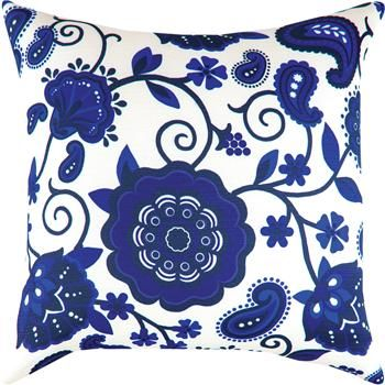"""SLSBFL 18"""" x 18"""" Shades of Blue  Floral Pillow                                                        contemporary"""