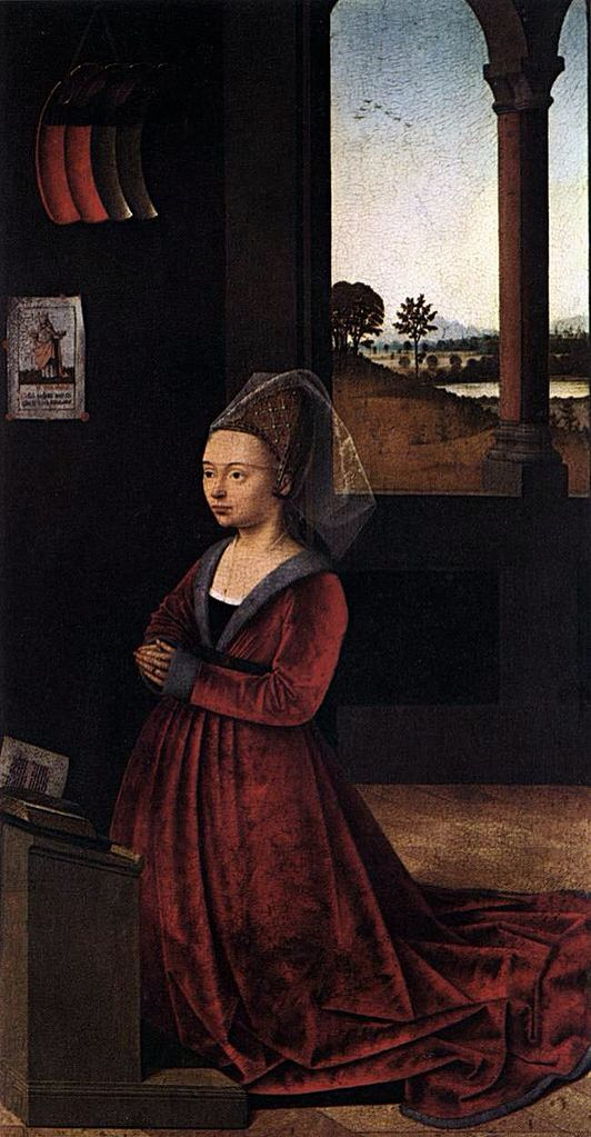 PETRUS CHRISTUS. Moglie del donatore lomellini. 1450. TECNICA: olio su tavola. 42x22 cm. LUOGO: National Gallery of Art, Washington