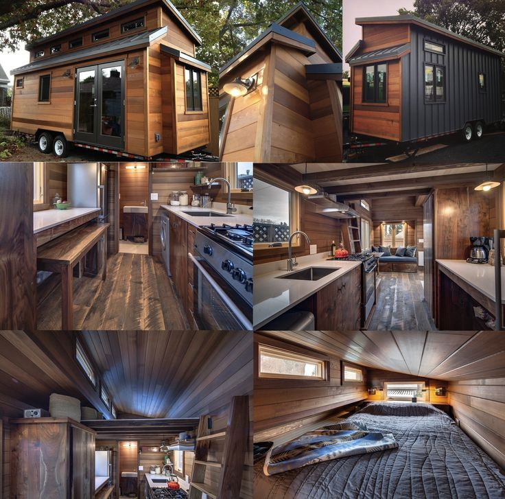 The 224 Sq. Ft. Cider Box Tiny House by ShelterWise. An energy efficient tiny home with 162 square feet of space on the main floor and an extra 62 square feet of sleeping space in the upstairs loft. Outside the structure is about 22′ long, 8.5′ wide and 13.5′ high. Inside is a full service kitchen, washer/dryer combination unit, lots of clever storage, and a full bathroom.