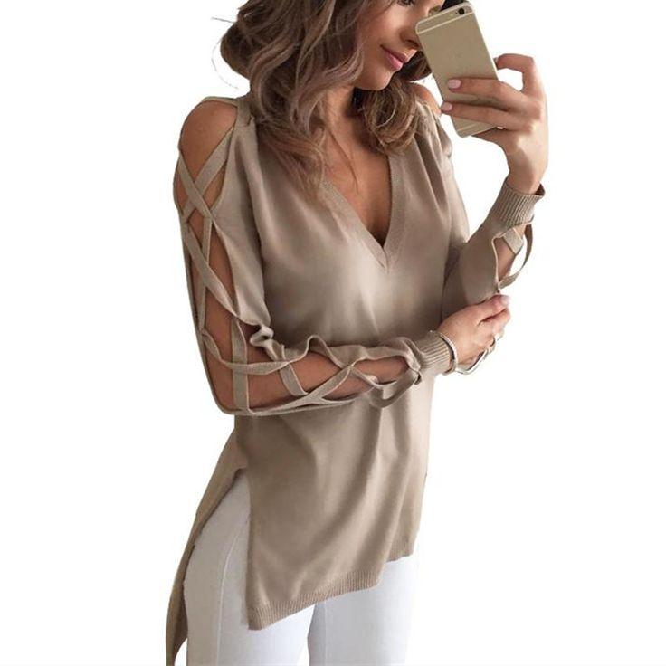 Celmia 2017ファッションセクシーな女性中空アウト長袖シャツtシャツ春の秋vネック側分割トップロングblusasプラスサイズ