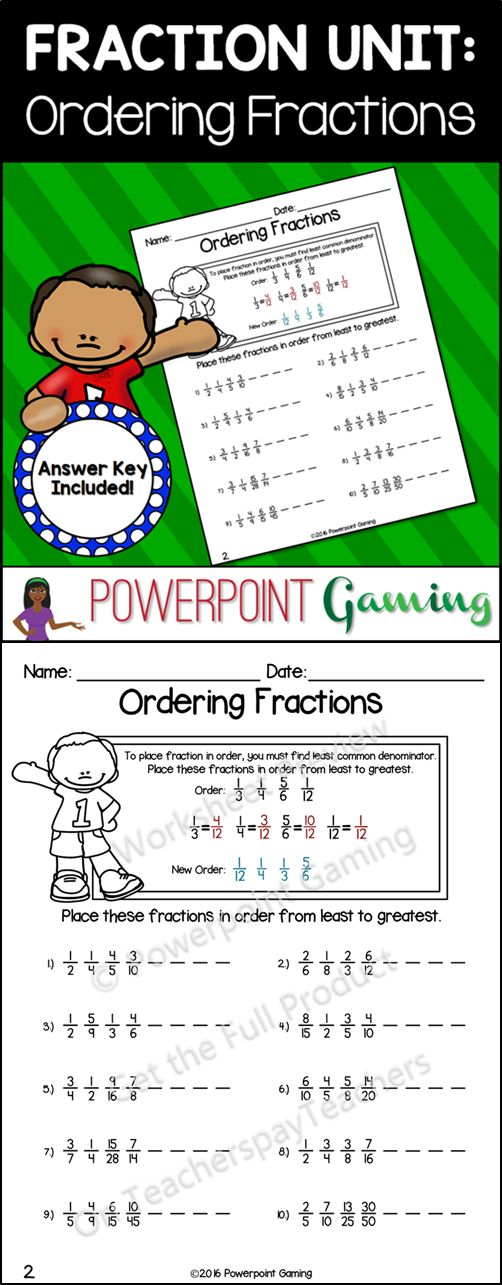 Reinforce fraction skills with this ordering fractions worksheet. Students use the least common denominator (LCM) to put fractions in order from least to greatest. There are guided notes at the top of the sheet as a reference. There are 10 questions in all and makes a great sheet for beginners. Perfect as a class assignment or homework sheet. Extra licenses are $0.50.