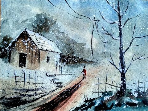 Watercolor Landscape Tutorial | How to paint a watercolor landscape | Paint with david | - YouTube