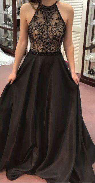 black beads satin long prom dress, black evening dress