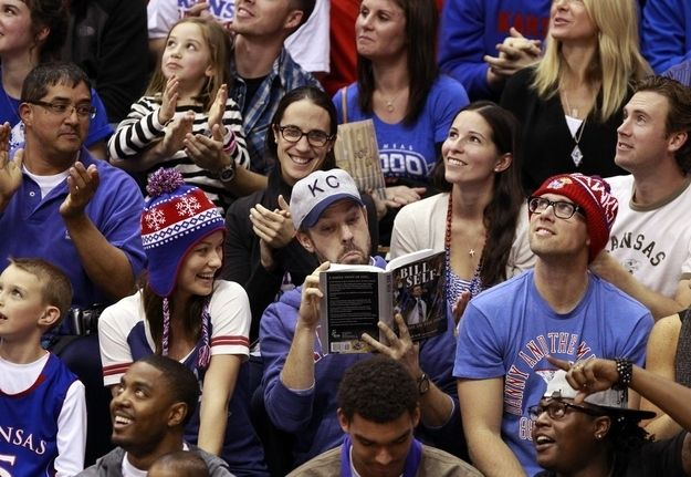 Jason Sudeikis And Olivia Wilde In The Crowd Of A Kansas University Basketball Game