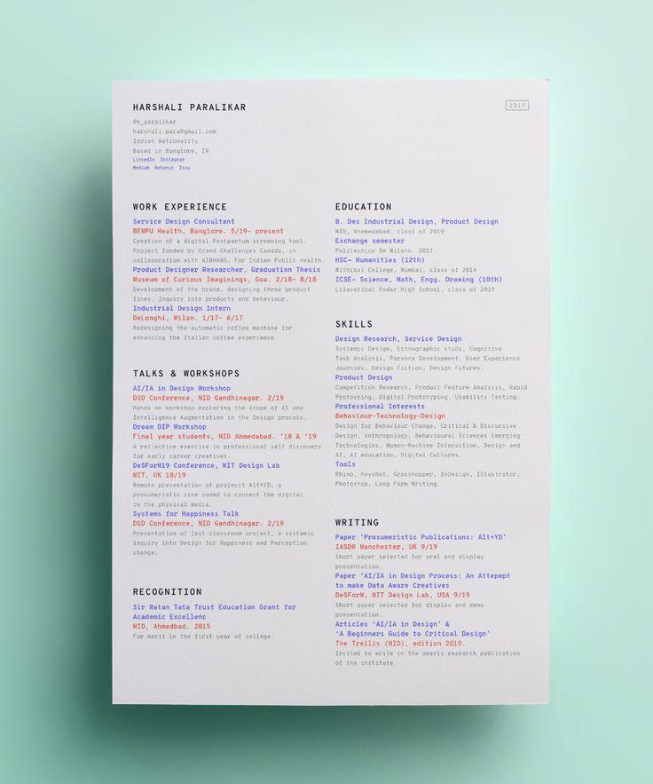 Résumé 2019 on Behance in 2020 Curriculum vitae design