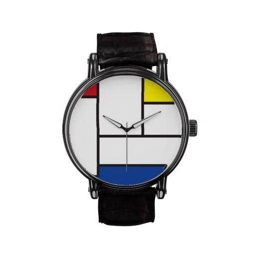 Mondrian Minimalist De Stijl Modern Art Watch by fatfatin