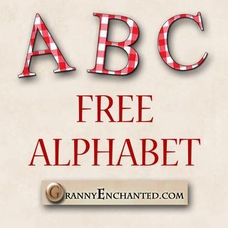 GRANNY ENCHANTED'S FREE DIGITAL SCRAPBOOK KITS: Free Red Gingham Digi Scrapbook Alphabet