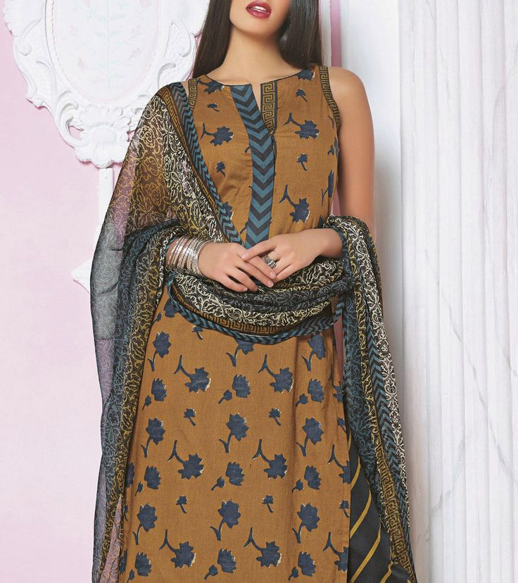 Brown Embroidered Lawn Cotton Pakistani Straight Suit