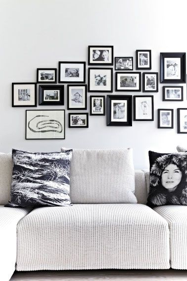 cozy sofa with By Nord pillows and great photo display