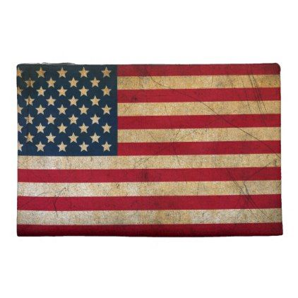 Vintage American Flag Travel Accessory Bag - american travel gifts giftideas traveller america