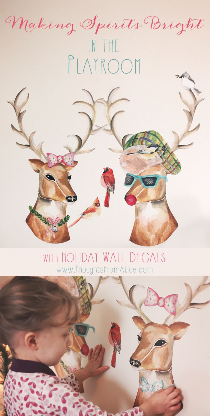 100 best diy christmas decor stencil ideas images on pinterest boy meets girl reindeer removable christmas wall decal set amipublicfo Gallery