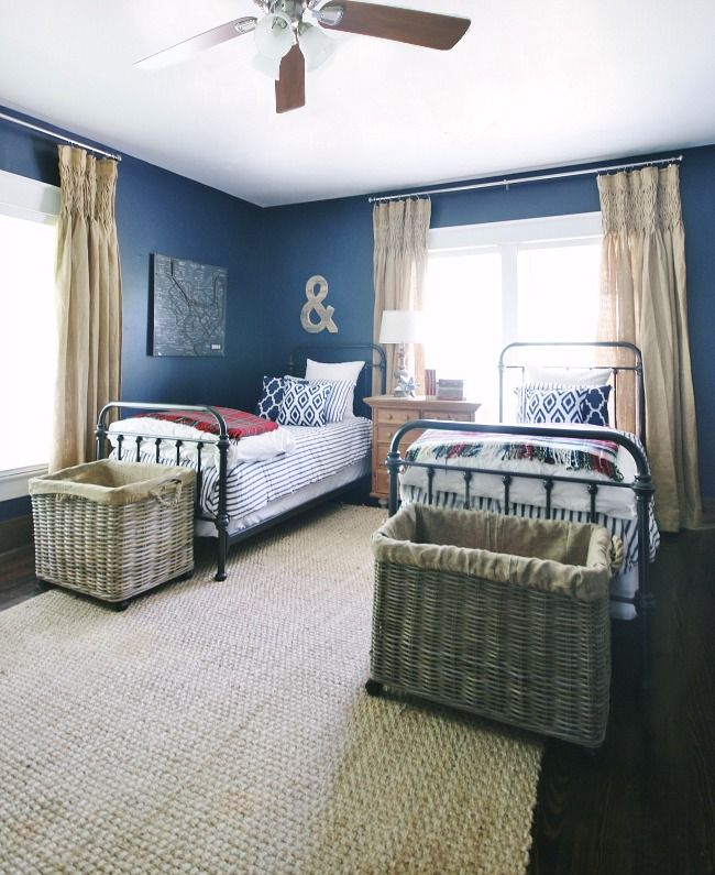 Vintage Navy, Red and White Bedroom Reveal | For the Kids ...