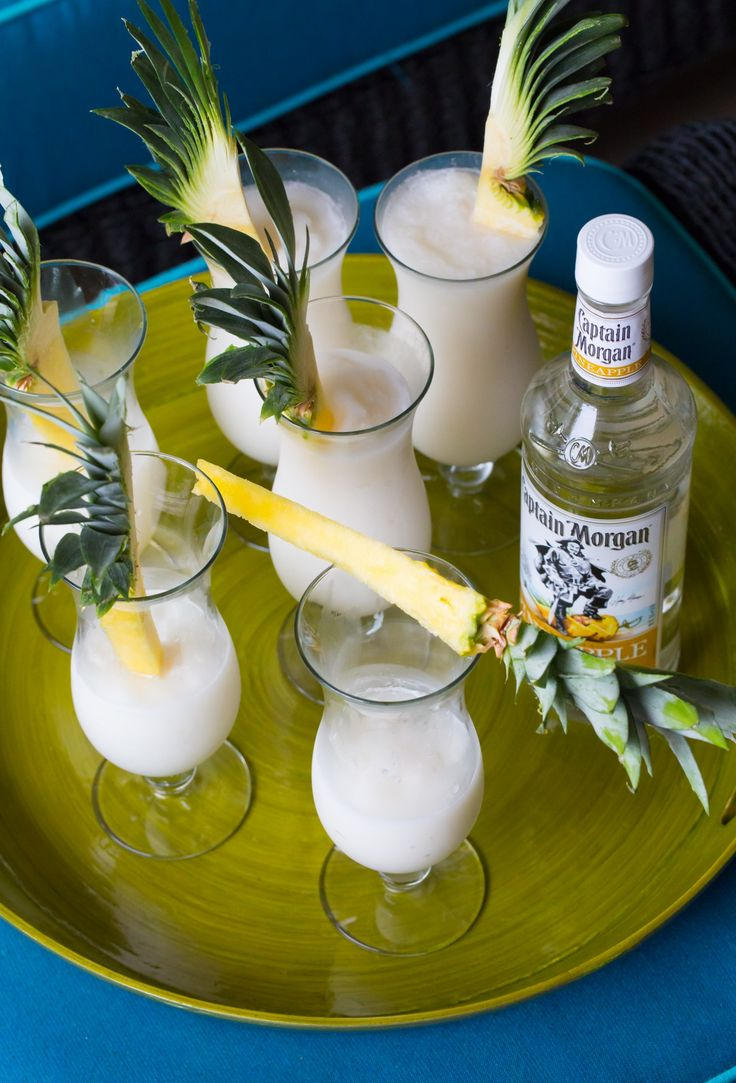 We like to garnish this Captain Morgan Pina Thunder Recipe with long spears of pineapple. It's a mental vacation and a snack rolled into one!